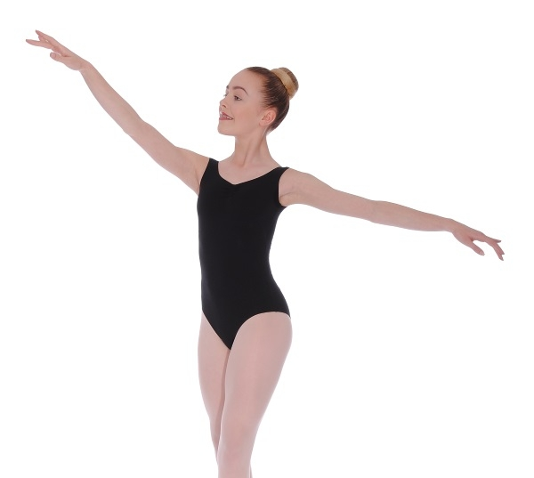 7 and 8 Official BBO Dance Black Cotton Sleeveless Leotard for Grades 6